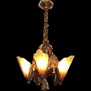 Bronze Brown Tip Art Deco Slip Shade Chandelier, ON SALE!