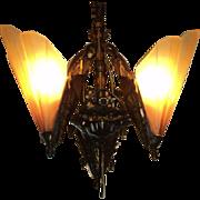 Bronze Brown Tip Art Deco Slip Shade Chandelier, 3 Shades
