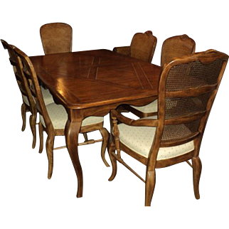 SALE French Country Oak Table & 6 Chairs by Drexel
