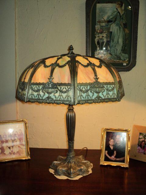 Large Slag Glass Lamp, Silver & Black Patina, ON SALE!