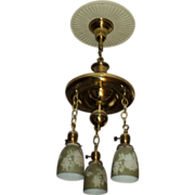 1920's Brass Hanging Light Fixture, w 3 Green & White Glass Shades