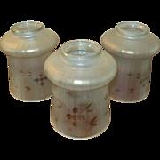 Set of Three Satin & Cut Iridescent Glass Lamp Shades