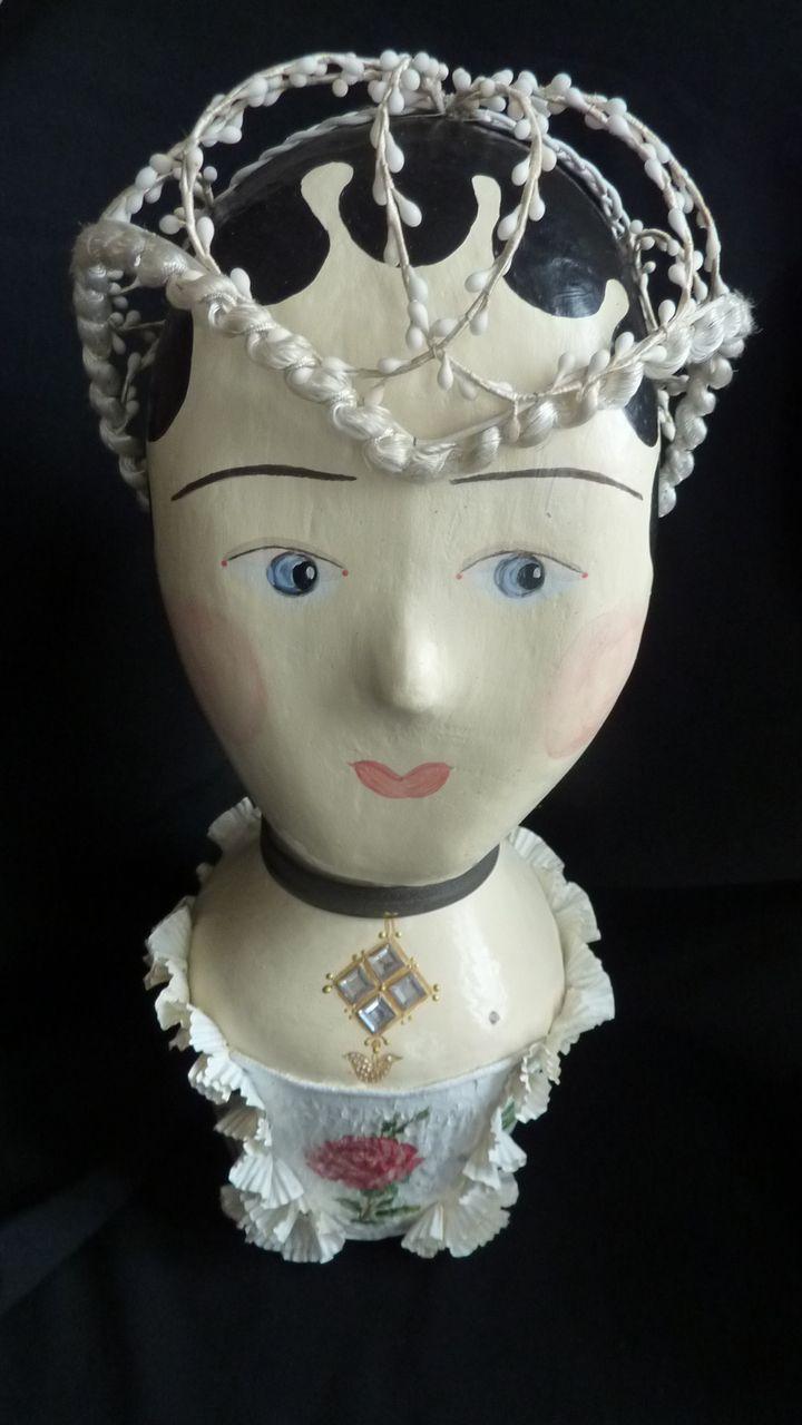 Delicious French wax bride's  headdress Juliette cap 1920 's