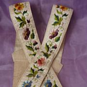 Rare pr. antique Gentleman's embroidered silk braces floral motifs