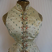 Exquisite late 18th century French cream silk ladies waistcoat with hand embroidered floral motifs
