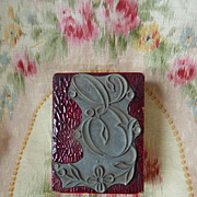 Delicious vintage French initial E monogram embroidery stamp floral embellishment