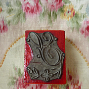 Delicious vintage French initial S embroidery  monogram stamp floral embellishment