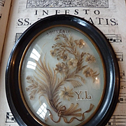 Superb decorative 19th C. French hair art mourning frame floral motifs souvenir initials YL