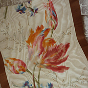 Delicious morceau antique French wide silk taffeta moire ribbon tulip motifs doll projects : collection