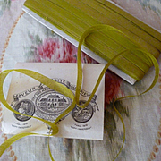 Delicious antique French narrow moss green ribbon : unused on original packaging : sewing doll projects