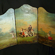 Adorable miniature hand painted folding screen : bucolic scene : young children : dog : musician : wild roses