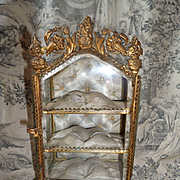 Splendid miniature 19th C. French ormolu glass display cabinet : vitrine : ideal doll accessory