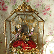 Delicious antique French ormolu wedding display casket : cabinet : wax corsage : pink bisque flowers