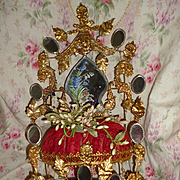 Elaborate antique French ormolu wedding cushion : cornflower : Lily of the valley : poppy : wax corsage