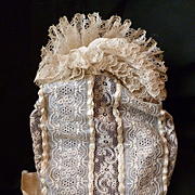 Frothy French lace ladies bonnet : cream moire ribbon bow