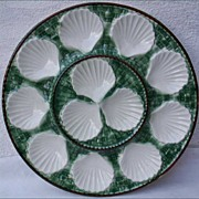 Oyster Dish French Majolica Basketweave Longchamp 1940