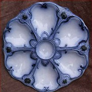 Rare Belgium Majolica Oyster Plate Wasmuel 1880
