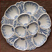 French Majolica Oyster Plate Vieillard Bordeaux 1880