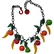 Hard Plastic Resin Fruit Necklace By French Designer