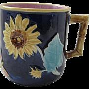 Cobalt English Majolica Sunflower & Butterfly Pitcher