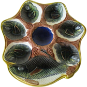 Majolica Oyster Plate With Fish Heads And Fish Forester