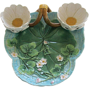 George Jones Majolica Double Lily Cup Strawberry Server