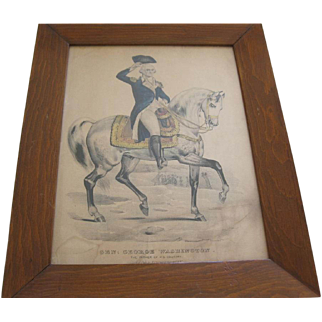 Original Framed Print By Currier & Ives Of General George Washington On His Horse