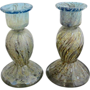 Set of 2 Unique STEUBEN Carder Cluthra Art Glass Candlestick Candle Holders