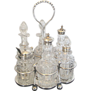 James Deakin & Sons Silver Plate and Crystal Vintage 7pc Cruet Bottle Set