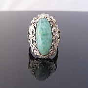 Amazonite Ring in Ornate 14k White Gold