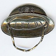 Patriotic Sweetheart Brooch/Pin World War II Doughboy Helmet  -1940s