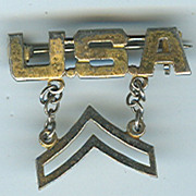 Patriotic World War II US Army Corporal Stripes USA Sterling Silver sweetheart pin  1940s