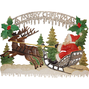 Santa on Sleigh with Reindeer - A Merry Christmas – Christmas Decoration German made