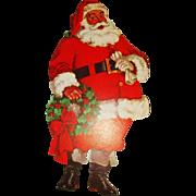 1950's lithographed Santa Claus cardboard cutout Christmas decoration Dennison Company  1950's lithographed Santa Claus cardboard cutout Christmas decoration Dennison Company