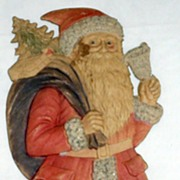 Large Standing Santa with a Bell Nostalgic Christmas Embossed die-cut ~ 1930's German Very Nice