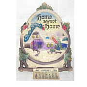 "Old Die-Cut Christmas Calendar ""Home sweet Home"" – Germany 1926 Excellent"