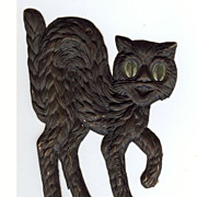 Small - German made Black cat die cut 1920-30s Cute! Scary! Right face!