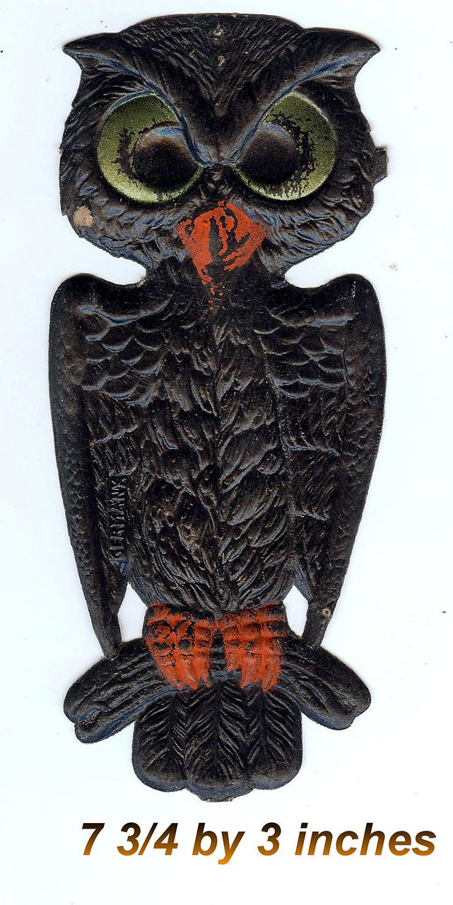 Small - German made Black owl die cut 1920-30s Cute! Scary! Excellent condition