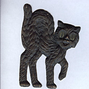 Small - German made Black cat die cut 1920-30s Scary!