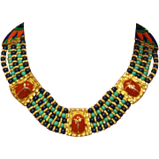Egyptian Revival Scarab Choker Necklace hard to find! Hattie Carnegie Egyptian Revival series collection 1960's