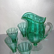 Morgantown Venetian Green Bolero Jug and Belton Tumblers