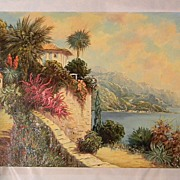 "20"" x 28"" Oil On Canvas  Peaceful Seaside  by Artist Rofini"