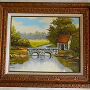 Oil on Canvas Peaceful Stone Bridge over Water Landscape signed