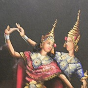 Gouache Painting of Two Thai  Dancers signed by Artist