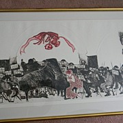 "Swanson . signed . 41"" x 25"" Framed Woodcut Symphony Orchestra -"