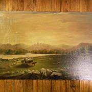 "Antique oil painting . 26"" x 16"" . Cows / Hay Wagon / Landscape"