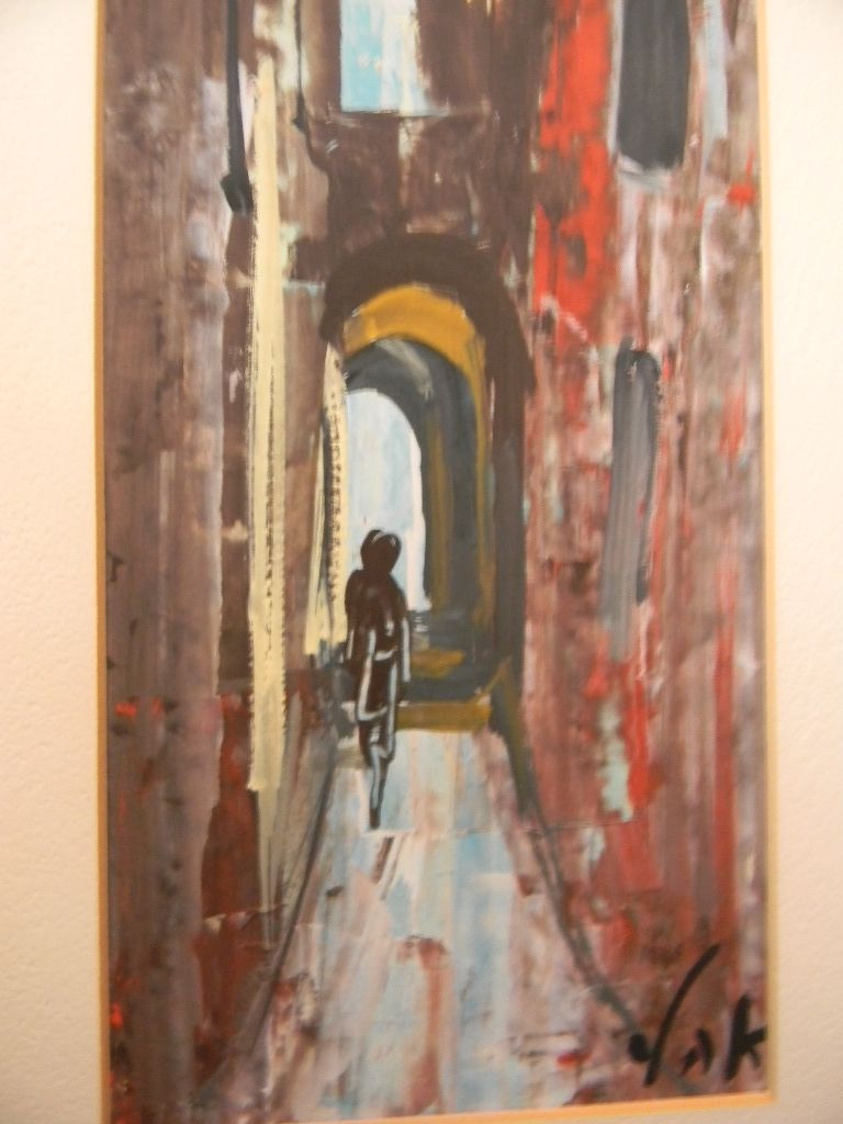 Signed YAK  .  Abstract Gouache  City Street  Alley Scene