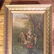 Antique Oil Painting . Girl with Cows