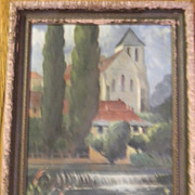 """Kassel . Antique Oil Painting on 14"""" x 20"""" Canvas"""