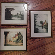Three Colored Etchings , 2 signed